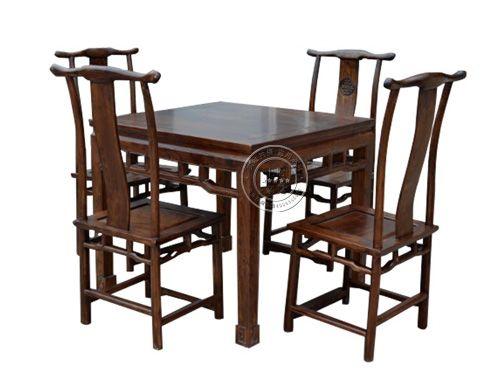 香河老榆木餐厅桌椅厂家CTZY-15