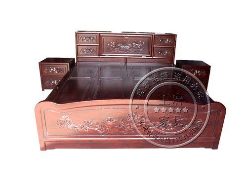 香河老榆木卧室床制作FGC-13