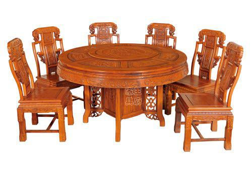 中式榆木仿古餐桌椅WF餐桌003