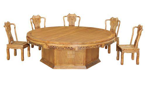 雕花老榆木餐桌椅WF餐桌004