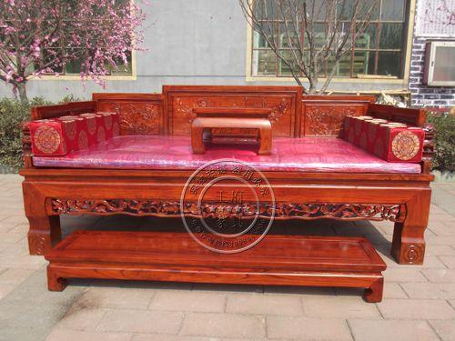 北京老榆木古典雕花罗汉床wf-096