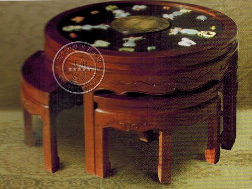 古典镶玉石榆木家具