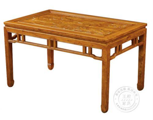 明式老榆木雕刻餐桌