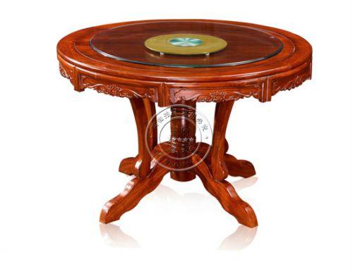 老榆木雕花圆餐桌