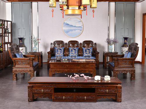 香河老榆木家具沙发六件套