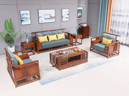 老榆木弯扶手沙发六件套