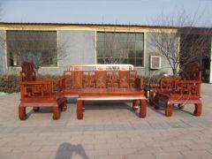 香河老榆木中式万字纹沙发