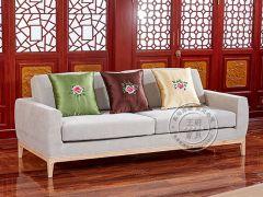 现代布艺老榆木沙发