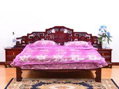 富贵老榆木双人床