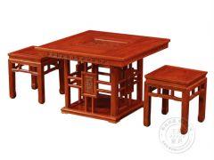 老榆木方形茶桌