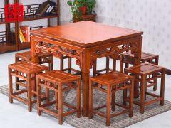 老榆木铜钱餐桌