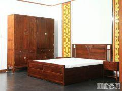 新中式老榆木床