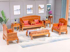 榆木铜圈沙发七件套
