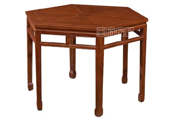 木质明式六角桌正面