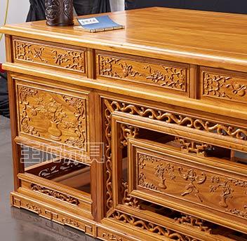 北京古典榆木书桌价格-王府老榆木家具厂家批发