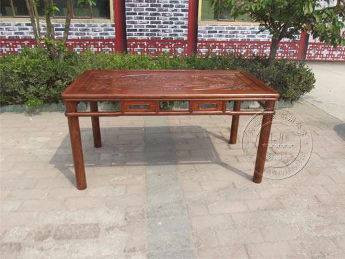 北京老榆木明式仿古雕花餐桌wf-028